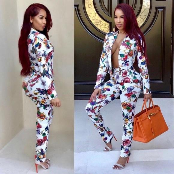 2 pc floral women blazer set